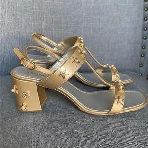 CHANEL pearl rose gold block heel sandals